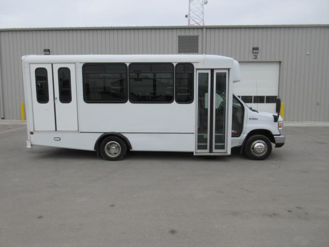 2017 World Trans Ford E350 8 Passenger and 4 Wheelchair Shuttle Bus Driver side exterior front angle-09693-2