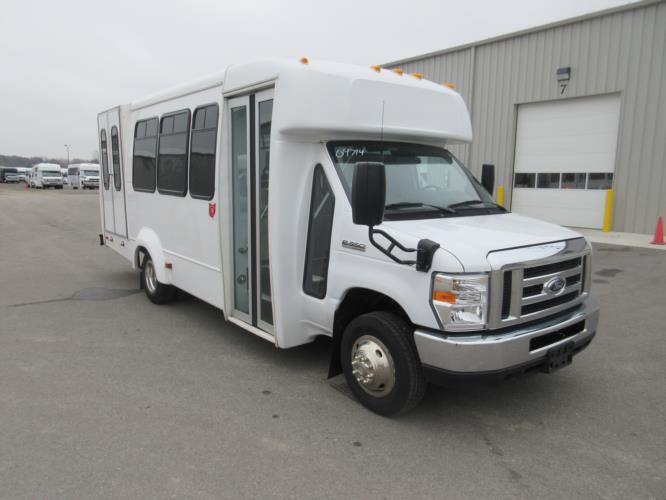 2017 Elkhart Coach Ford E350 12 Passenger and 1 Wheelchair Shuttle Bus Passenger side exterior front angle-09714-1