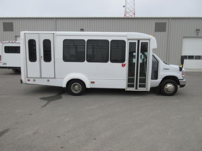 2017 Elkhart Coach Ford E350 12 Passenger and 1 Wheelchair Shuttle Bus Driver side exterior front angle-09714-2