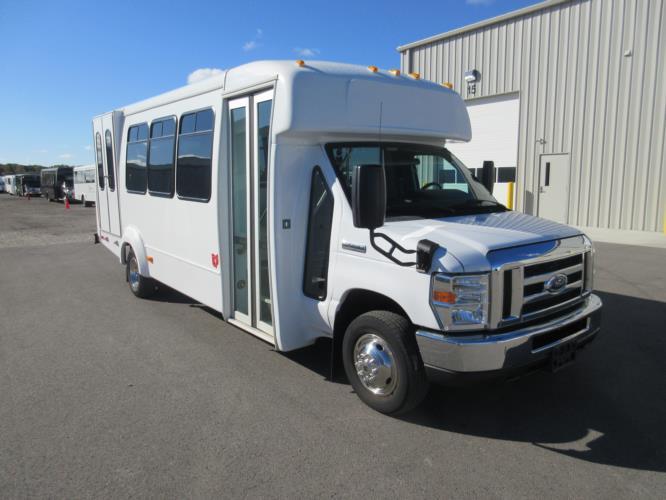2017 Elkhart Coach Ford E450 16 Passenger and 2 Wheelchair Shuttle Bus Passenger side exterior front angle-09716-1