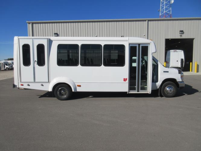 2017 Elkhart Coach Ford E450 16 Passenger and 2 Wheelchair Shuttle Bus Driver side exterior front angle-09716-2