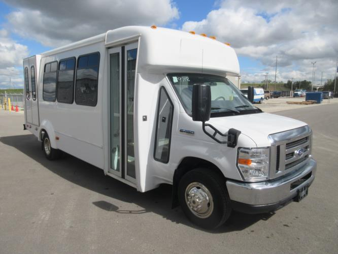 2017 Elkhart Coach Ford E450 16 Passenger and 2 Wheelchair Shuttle Bus Passenger side exterior front angle-09718-1