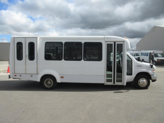 2017 Elkhart Coach Ford E450 16 Passenger and 2 Wheelchair Shuttle Bus Driver side exterior front angle-09718-2