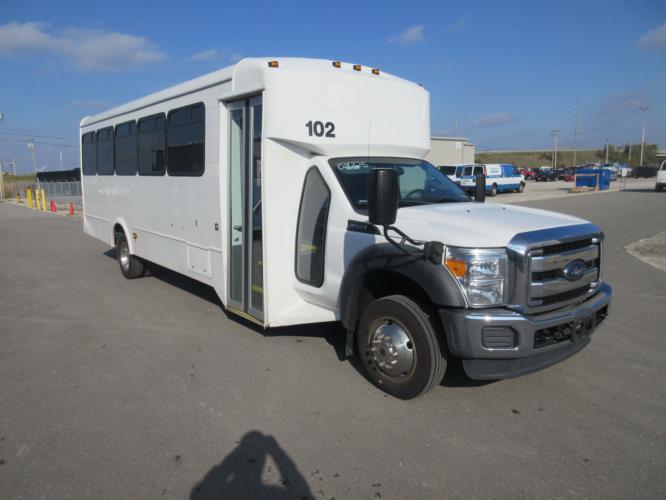 2015 Glaval Ford F550 30 Passenger Shuttle Bus Passenger side exterior front angle-09725-1