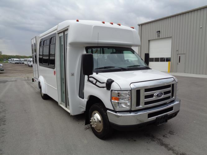 2017 Elkhart Coach Ford E350 12 Passenger and 2 Wheelchair Shuttle Bus Passenger side exterior front angle-09741-1