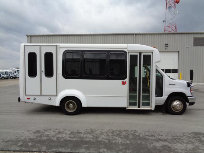 2017 Elkhart Coach Ford E350 12 Passenger and 2 Wheelchair Shuttle Bus Driver side exterior front angle-09741-2