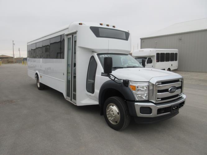 2015 Glaval Ford F550 29 Passenger Shuttle Bus Passenger side exterior front angle-09765-1