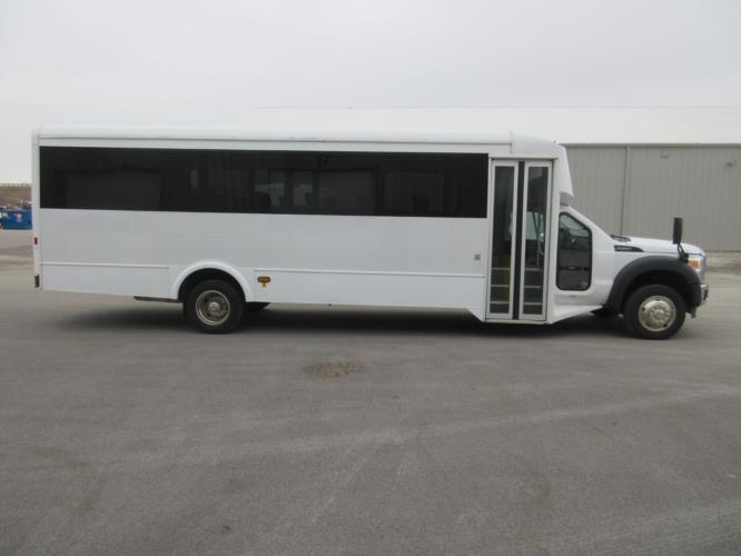 2015 Glaval Ford F550 29 Passenger Shuttle Bus Driver side exterior front angle-09765-2