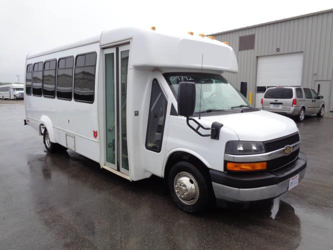2018 Elkhart Coach Chevrolet 25 Passenger Shuttle Bus Passenger side exterior front angle-09792-1