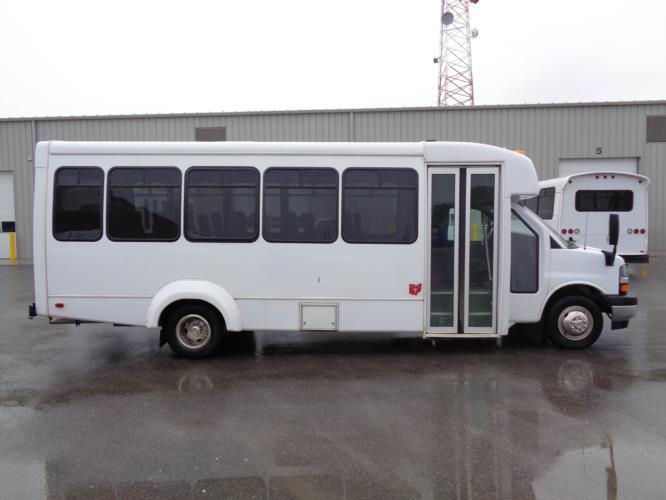 2018 Elkhart Coach Chevrolet 25 Passenger Shuttle Bus Driver side exterior front angle-09793-2