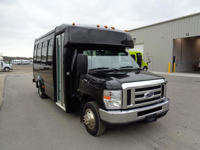 2017 Elkhart Coach Ford E350 14 Passenger Shuttle Bus Passenger side exterior front angle-09846-1