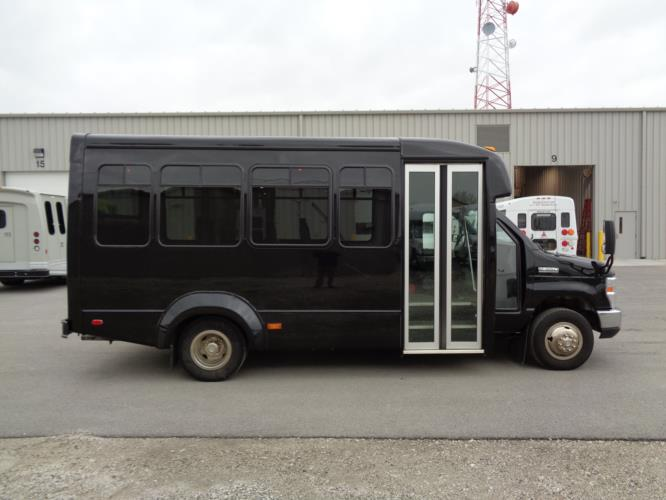 2017 Elkhart Coach Ford E350 14 Passenger Shuttle Bus Driver side exterior front angle-09846-2