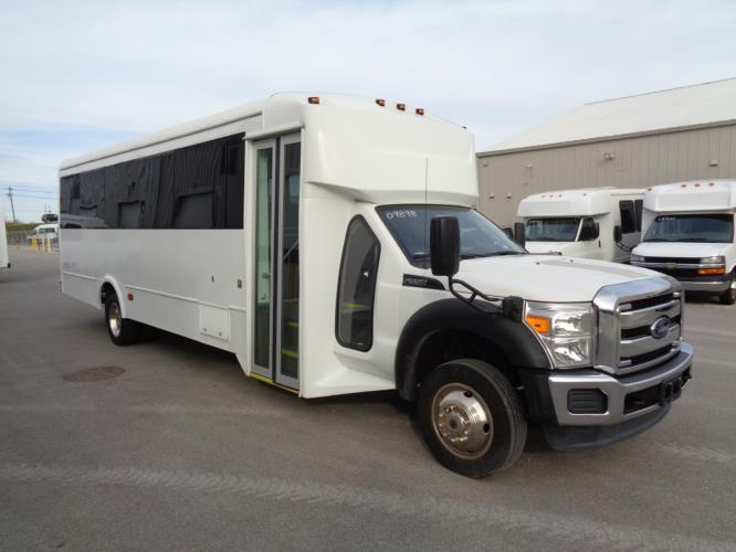 2016 Glaval Ford F550 32 Passenger Shuttle Bus Passenger side exterior front angle-09898-1