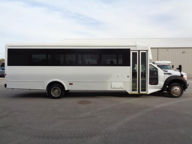 2016 Glaval Ford F550 32 Passenger Shuttle Bus Driver side exterior front angle-09898-2