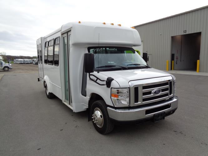 2017 Elkhart Coach Ford E350 12 Passenger and 2 Wheelchair Shuttle Bus Passenger side exterior front angle-09910-1