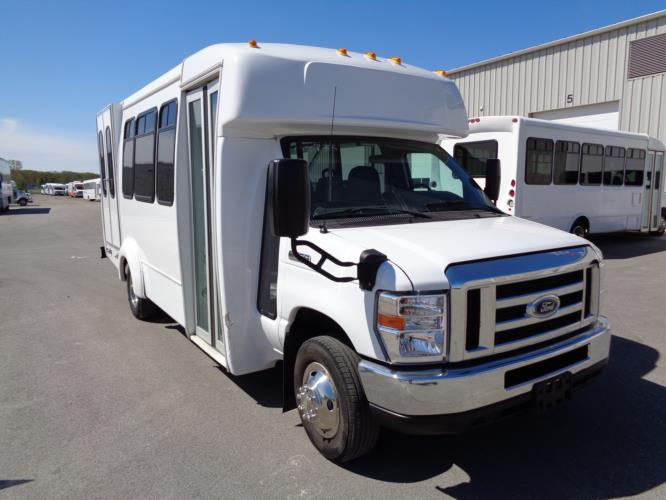 2017 Elkhart Coach Ford E350 12 Passenger and 2 Wheelchair Shuttle Bus Passenger side exterior front angle-09933-1