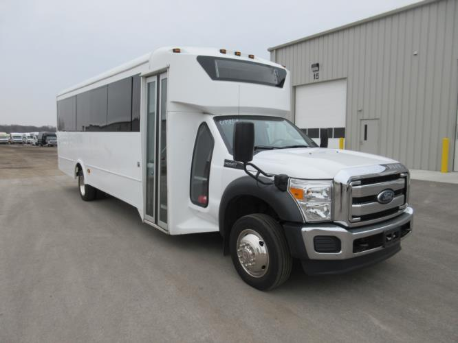 2016 Glaval Ford F550 29 Passenger Shuttle Bus Passenger side exterior front angle-09953-1