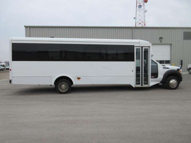 2016 Glaval Ford F550 29 Passenger Shuttle Bus Driver side exterior front angle-09953-2