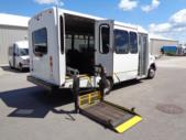 2012 Goshen Coach Ford 12 Passenger and 2 Wheelchair Shuttle Bus Passenger side exterior rear angle-09968-3
