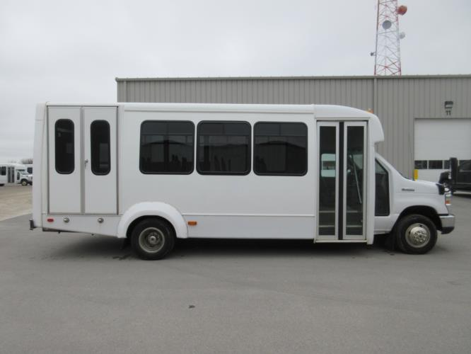 2017 Elkhart Coach Ford E450 16 Passenger and 2 Wheelchair Shuttle Bus Driver side exterior front angle-09979-2