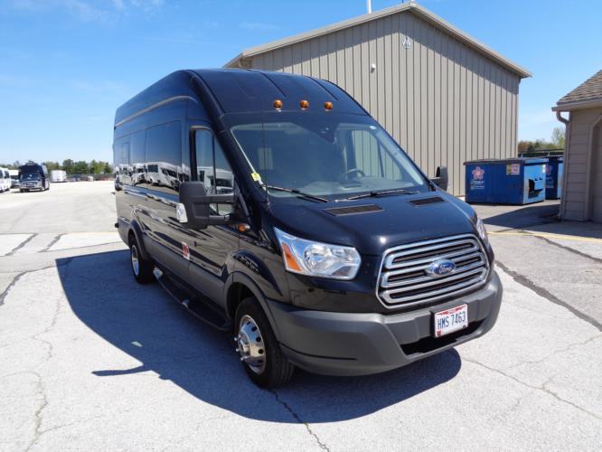 2017 Battisti Customs Ford Transit 14 Passenger Luxury Bus Passenger side exterior front angle-U10028-1