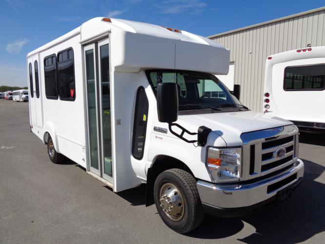2017 Goshen Ford 12 Passenger and 2 Wheelchair Shuttle Bus Passenger side exterior front angle-U10035-1