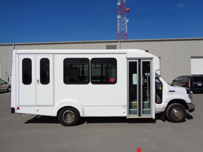 2017 Goshen Ford 12 Passenger and 2 Wheelchair Shuttle Bus Driver side exterior front angle-U10035-2