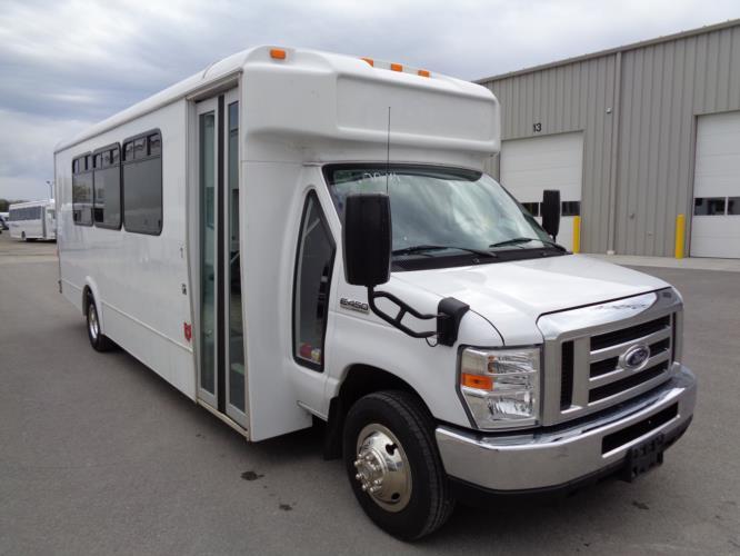 2017 Glaval Ford E-450 24 Passenger Shuttle Bus Passenger side exterior front angle-U10039-1
