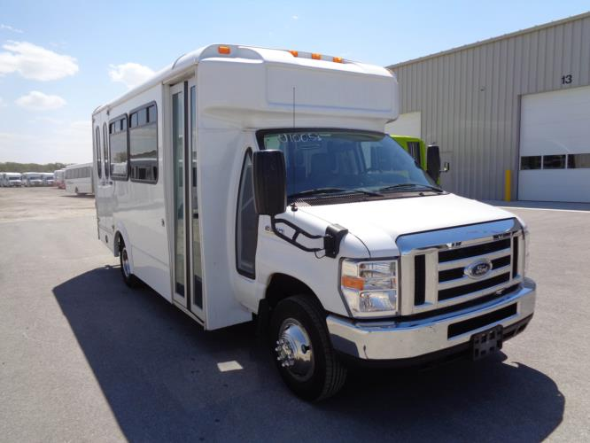 2017 Glaval Ford 12 Passenger and 2 Wheelchair Shuttle Bus Passenger side exterior front angle-U10053-1