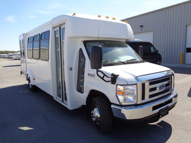 2017 Elkhart Coach Ford 16 Passenger and 2 Wheelchair Shuttle Bus Passenger side exterior front angle-U10054-1