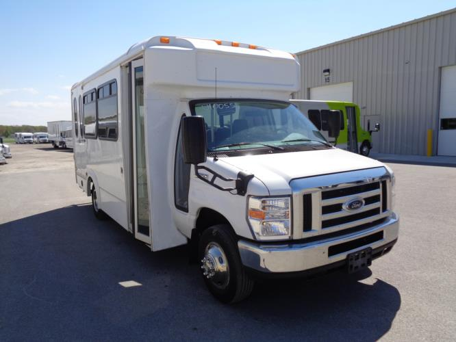 2017 Glaval Ford 12 Passenger and 2 Wheelchair Shuttle Bus Passenger side exterior front angle-U10055-1