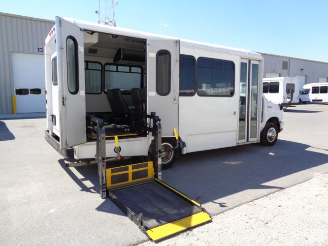 2017 Glaval Ford 12 Passenger and 2 Wheelchair Shuttle Bus Driver side exterior front angle-U10055-2