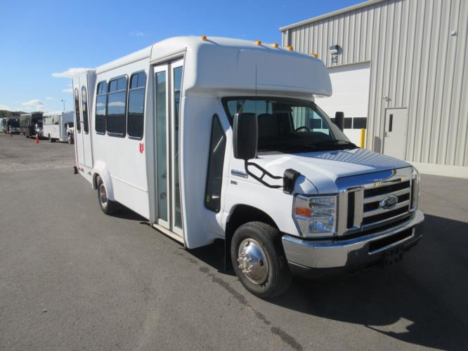 2016 Elkhart Coach Ford 12 Passenger and 2 Wheelchair Shuttle Bus Passenger side exterior front angle-U10057-1