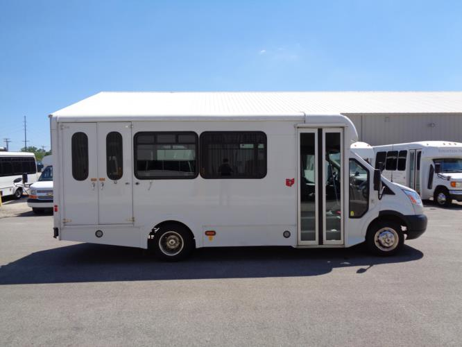 2018 Glaval Ford 11 Passenger and 2 Wheelchair Shuttle Bus Driver side exterior front angle-U10080-2