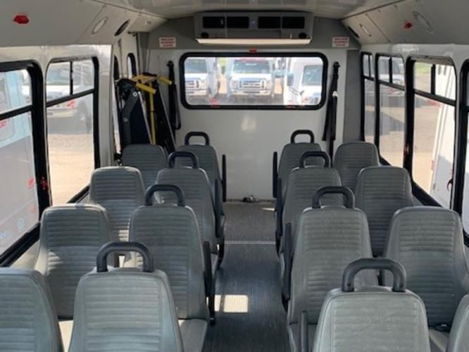 2015 Elkhart Coach Ford 16 Passenger and 2 Wheelchair Shuttle Bus Passenger side exterior front angle-U10091-1