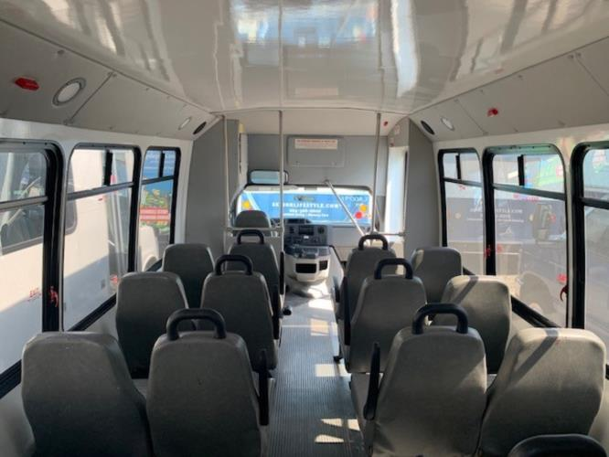 2015 Elkhart Coach Ford 16 Passenger and 2 Wheelchair Shuttle Bus Driver side exterior front angle-U10091-2