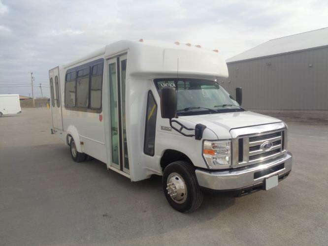 2017 Elkhart Coach Ford 12 Passenger and 2 Wheelchair Shuttle Bus Passenger side exterior front angle-U10101-1
