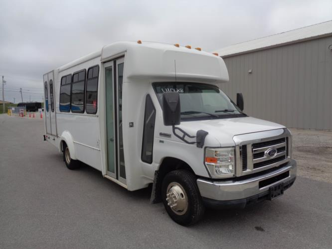 2011 Elkhart Coach Ford 12 Passenger and 2 Wheelchair Shuttle Bus Passenger side exterior front angle-U10128-1