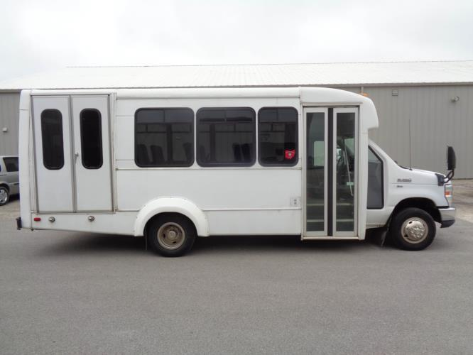 2011 Elkhart Coach Ford 12 Passenger and 2 Wheelchair Shuttle Bus Driver side exterior front angle-U10128-2