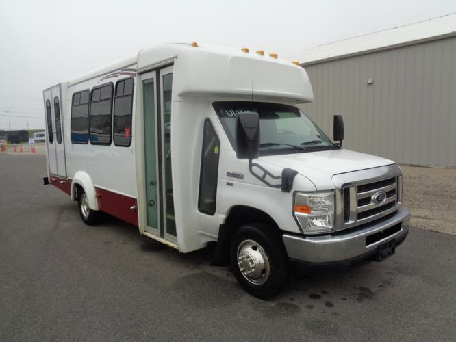2012 Elkhart Coach Ford 12 Passenger and 2 Wheelchair Shuttle Bus Passenger side exterior front angle-U10129-1