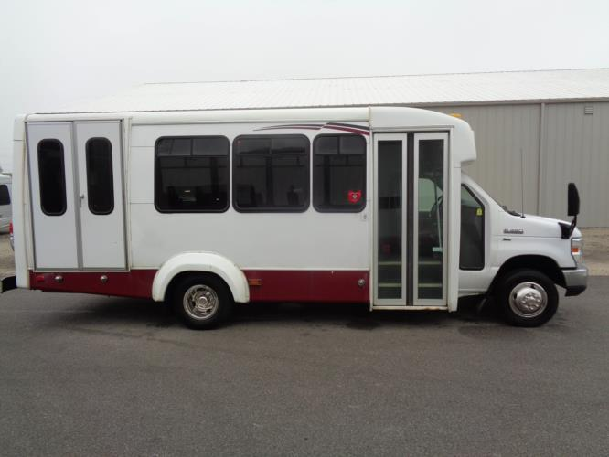 2012 Elkhart Coach Ford 12 Passenger and 2 Wheelchair Shuttle Bus Driver side exterior front angle-U10129-2