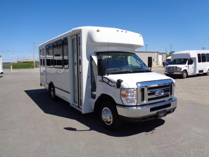 2017 World Trans Ford 12 Passenger and 2 Wheelchair Shuttle Bus Passenger side exterior front angle-U10136-1