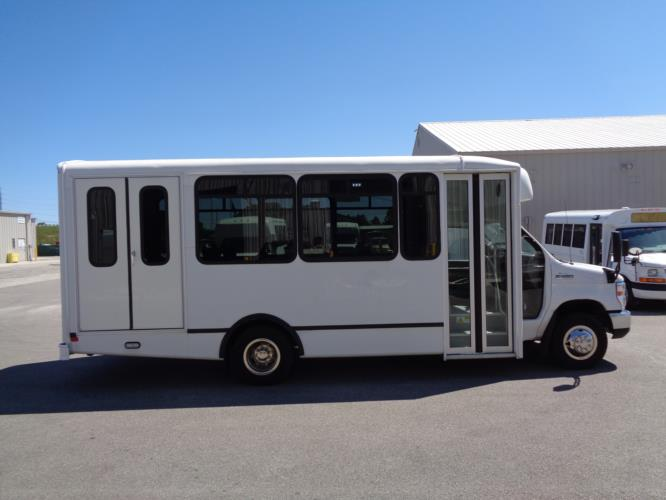 2017 World Trans Ford 12 Passenger and 2 Wheelchair Shuttle Bus Driver side exterior front angle-U10136-2