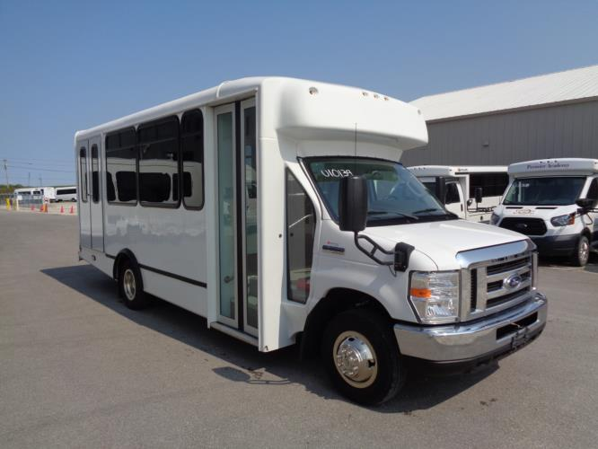 2017 World Trans Ford 12 Passenger and 2 Wheelchair Shuttle Bus Passenger side exterior front angle-U10139-1