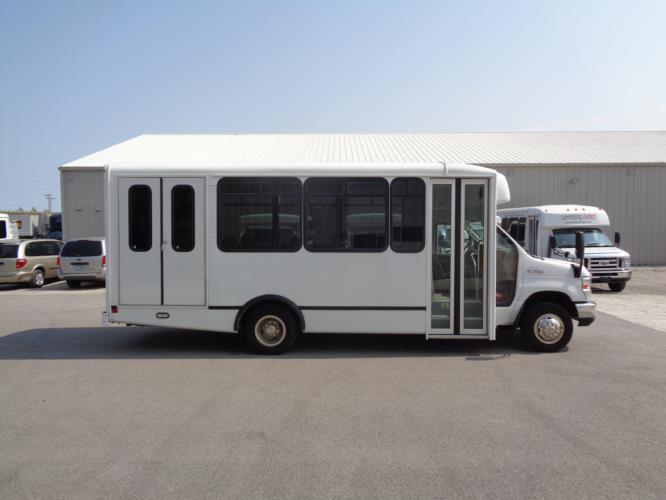 2017 World Trans Ford 12 Passenger and 2 Wheelchair Shuttle Bus Driver side exterior front angle-U10139-2