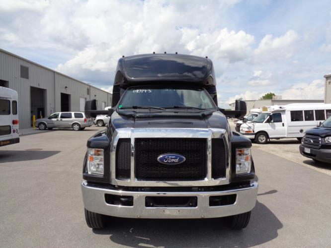 2016 Turtle Top Ford 33 Passenger Shuttle Bus Driver side exterior front angle-U10143-2