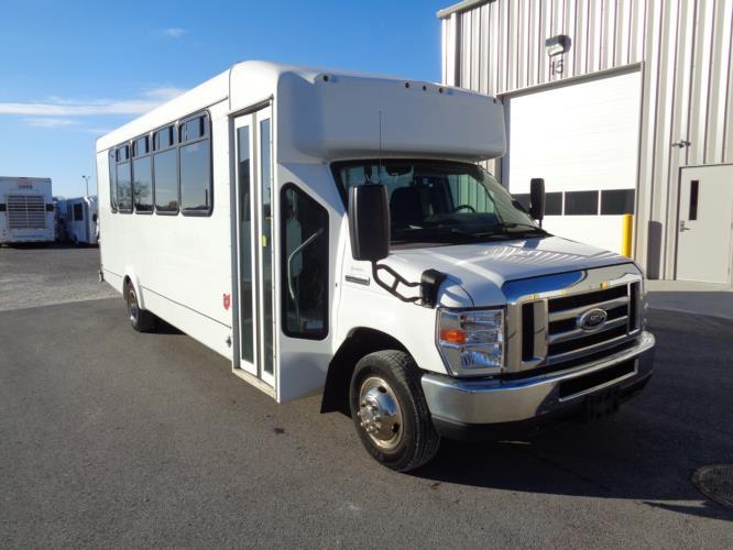 2016 Goshen Coach Ford 25 Passenger Shuttle Bus Passenger side exterior front angle-U10157-1