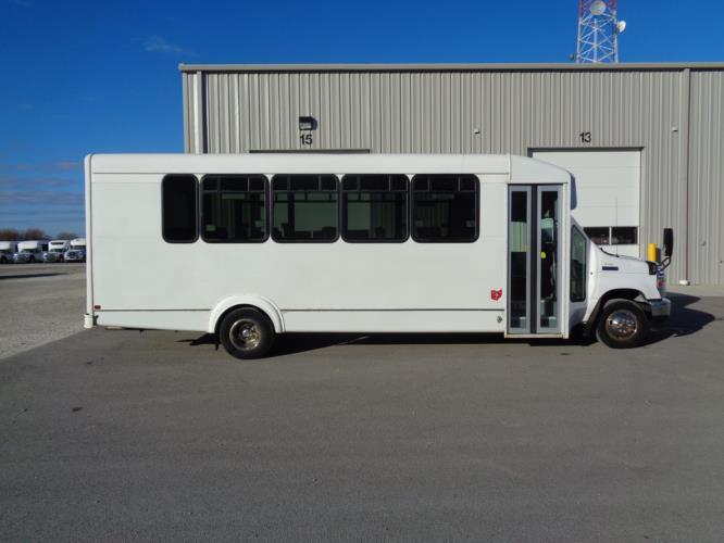 2016 Goshen Coach Ford 25 Passenger Shuttle Bus Driver side exterior front angle-U10157-2