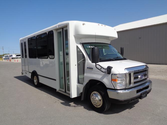 2017 World Trans Ford 12 Passenger and 2 Wheelchair Shuttle Bus Passenger side exterior front angle-U10163-1