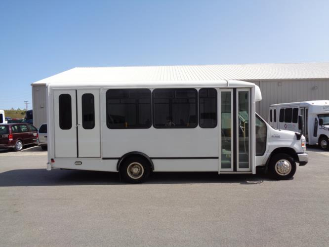 2017 World Trans Ford 12 Passenger and 2 Wheelchair Shuttle Bus Driver side exterior front angle-U10163-2
